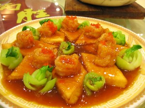 one of the more conventional dishes - prawns on tofu