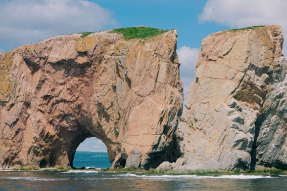 The Percé Rock's arch next to what used to be an arch.
