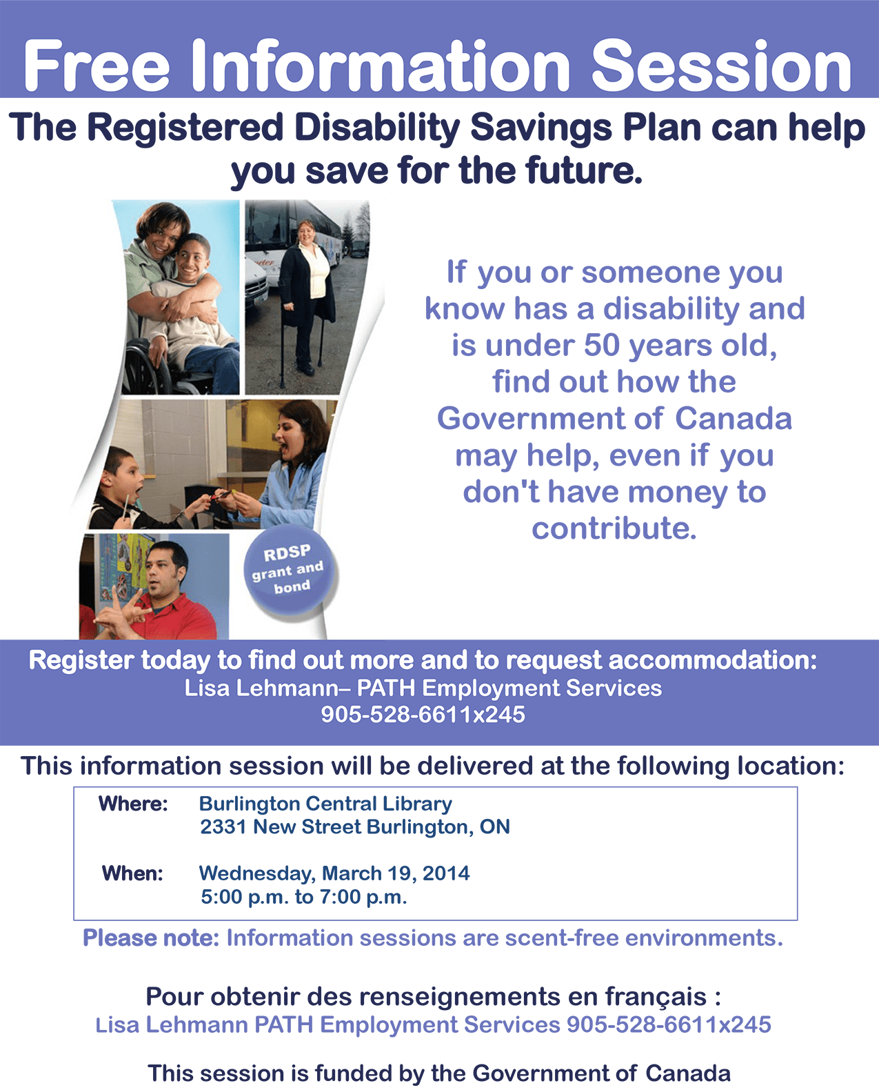 Information session on the Registered Disability Savings Plan