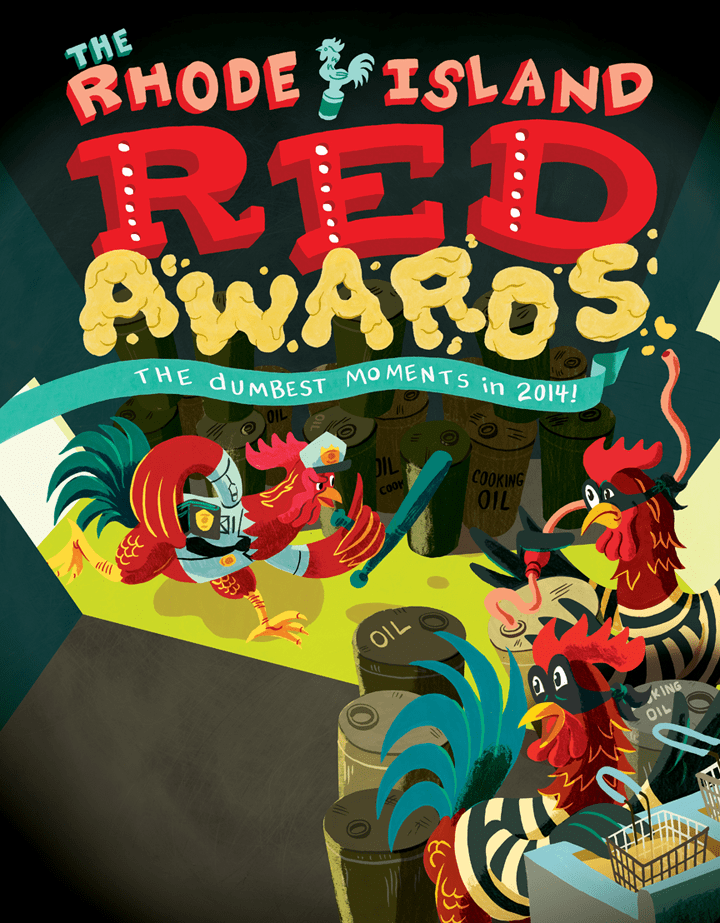 Illustration for Rhode Island Monthly article on the Red Awards, the dumbest moments in 2014