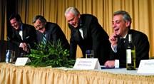 Roastee Stephen Colbert  at the Spina Bifida benefit with tormentors Mark Shields, Sen. Orrin Hatch, and Rep. Rahm Emanuel. (Photo by Paul Morigi)