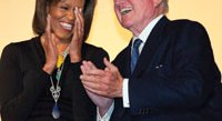 First Lady Michelle Obama and Sen. Ted Kennedy