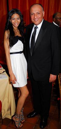 Chanel Iman and Egyptian Ambassador Sameh Shoukry