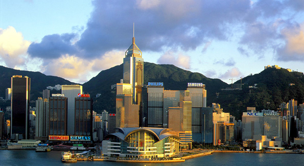 The Hong Kong Island view as seen from from Kowloon.