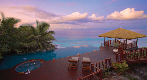 Each villa on Fregate Island offers exceptional views of the Indian Ocean, a private pool, teak decks, and day beds.