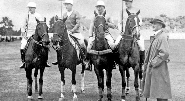 At the International Championship Cup of the Americas of 1928, the Untied States Team: from left, W.A. Harriman, T. Hitchcock Jr., M. Stevenson, Winston Guest, L.E. Stoddard (Photo courtesy of National Museum of Polo).