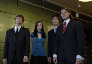 Team Extraplaid from Utah State University got pumped by listening to Led Zeppelin before its presentation. Standing from left are Josh Light, Susanna Beck, Yiding Han and Cal Coopmans. (Microsoft)