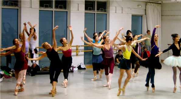 The Washington Ballet dancers during practice