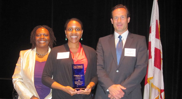 Dr. Madye Henson, Trisha Grant and Matthew Mitchell.  Grant's ACE Mentor Program won the Greater DC Cares' Community Impact Award for the Nonprofit Sector (photo by Jane Hess Collins)