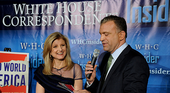 Aranna Huffington, pictured with Dylan Ratigan, glows as she promotes her new book