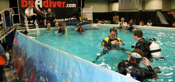 The 18,000 gallon tank where guest could experience scuba diving while at the Travel & Adventure Show.