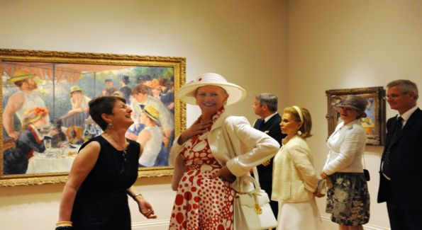 Phillip Director Dorothy Kosinski (left) shares a laugh with Her Majesty The Queen of Denmark at The Phillips Collection luncheon and museum tour.  Photo by James R. Brantley