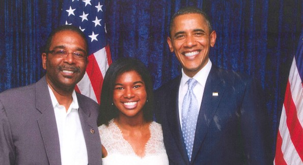 Rachel Wims, flanked by her father W. Gregory Wims and President Barack Obama