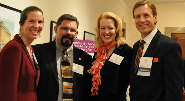 SCAN Executive Director Sonia Quinonez, Jose Quinonez, Joyce Bliss, board member Jeff Bliss at the 2010 Toast to Hopes event.