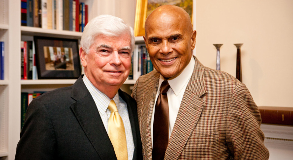 MPAA's Chris Dodd and Harry Belafonte at the D.C. premier of Sing Your Song. Photo by Ralph Alswang.