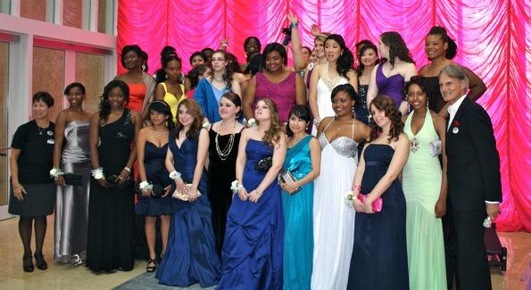 Monte Durham and The Horizon Foundation's 30 girls in full prom attire. (Photo courtesy of Katherine Delmonico)