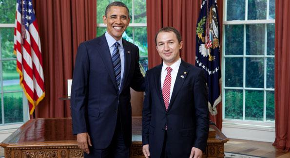 Kosovo's new ambassador at his credentialing ceremony with President Barack Obama (Photo courtesy XXXXXXXXXX)