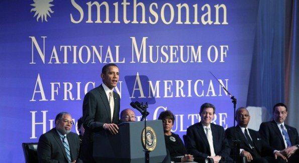 President Obama at the dedication for the Museum of African American History and Culture