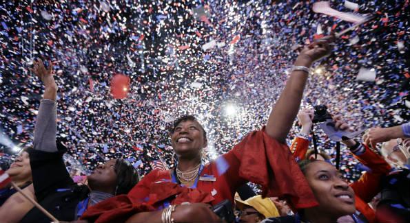 Jubilation on election night Nov. 7, 2012 (AP Photo/Matt Rourke)