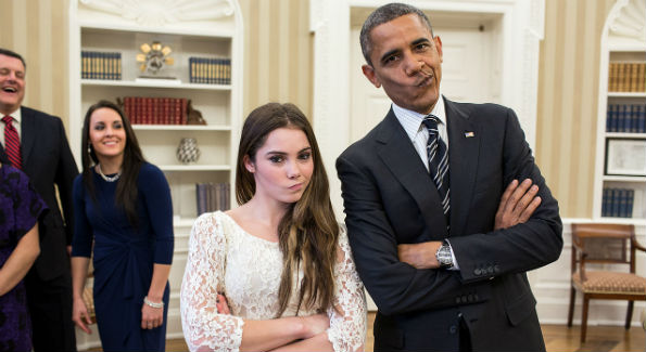 "Even President Obama has jumped on board the ""McKayla look"" train. (Photo by Pete Souza)"