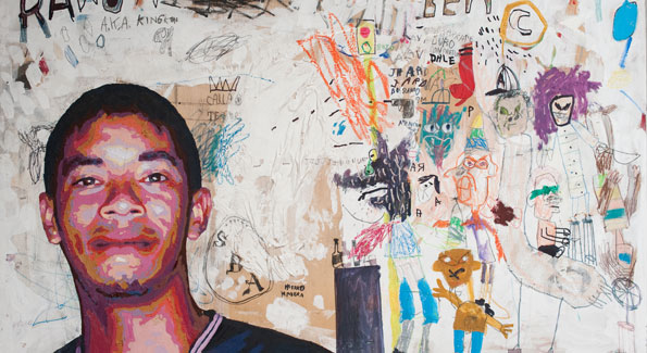 """Ramon"" mixed media on wood 2008 by Aaron Lopez is part of one collection featured in this year's Transformer Collector's View. (Photo by Joseph Allen)"