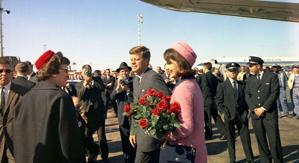 President John F. Kennedy and Jacqueline Kennedy arriving in XXXXXX (Photo xxxxx)
