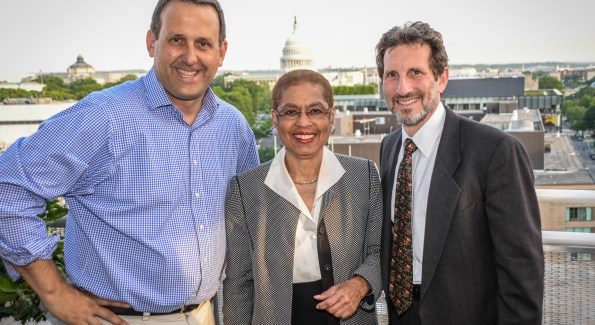 Ed Krauze, Eleanor Holmes Norton and Daniel Soloman at the inaugural 3 Star Ball (Photo by Ben Droz)