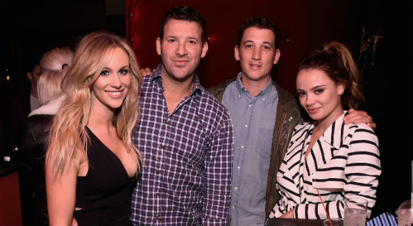 Candace Crawford-Romo, Tony Romo, Miles Teller and (Photo by )
