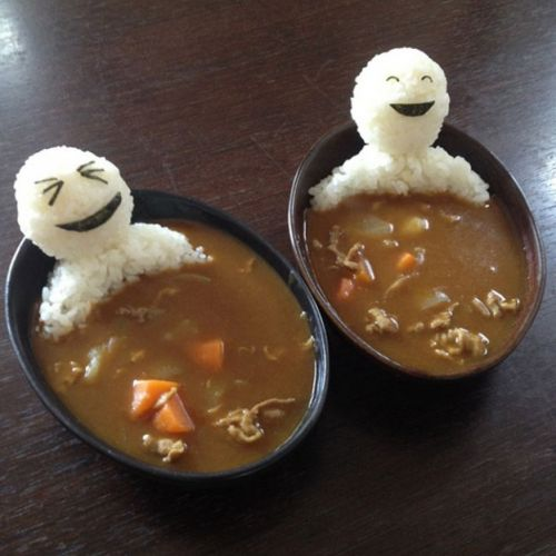 rice figures in a Japanese soup bath