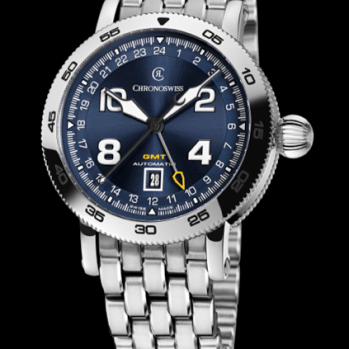 CHRONOSWISS TIMEMASTER: CH-2563 caja de acero inoxidable, brazalete y carátula azul galvanizada.