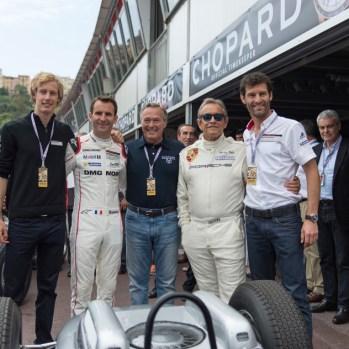 Grand-Prix-Monaco-Historique-2016-004---KF-Scheufele-with-Mark-Webber,-Brendon-Hartley,-Romain-Dumas-and-Jacky-Ickx-before-the-parade