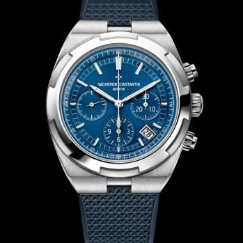 Overseas chrono blue 5500V/110A-B148bracelet caoutchoucrubber