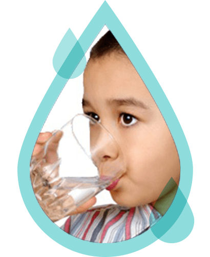 a blue water droplet graphic with an image of a young girl drinking water out of a glass with a straw inside of it