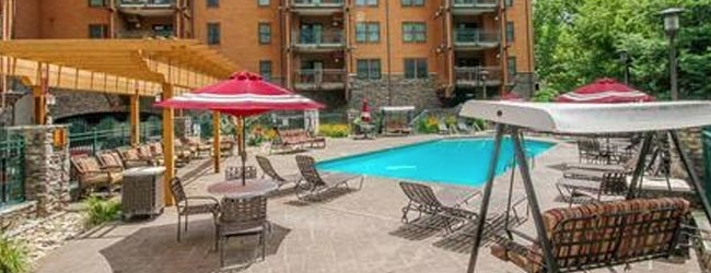 View of the Outdoor Pool at Baskins Creek Condos in Pigeon Forge Tn wide