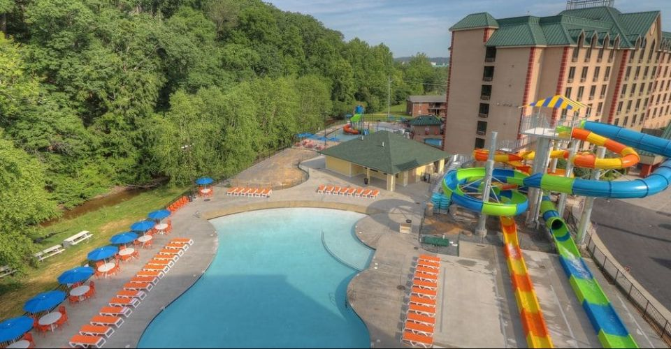 Overview of the Water Park from above at the Country Cascades Resort in Pigeon Forge Tn 960