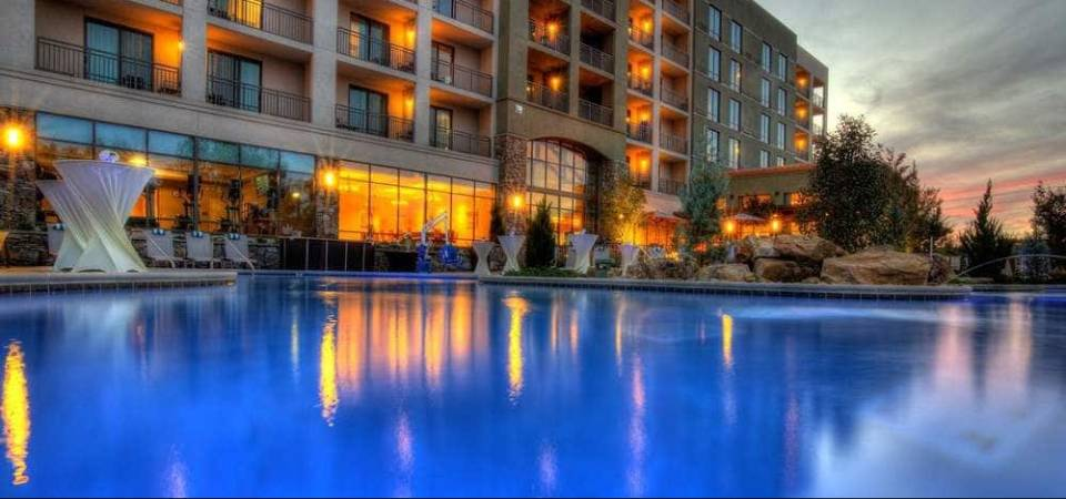 View of the Outdoor Pool Heated Pool with Lazy River from the water at the Courtyard Marriott in Pigeon Forge 960