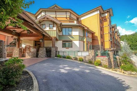 View of the Front Entrance to the Baskins Creek Condos in Gatlinburg Tennessee