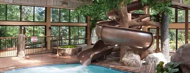 View of the corkscrew water slide at Park Vista Gatlinburg wide