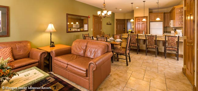 View of the Living. Dining and Kitchen area in a condo at the Westgate Smokey Mountain Resort wide