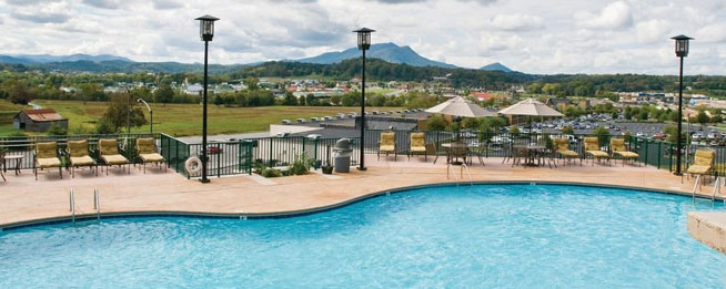 Wyndham Smoky Mountains Outdoor Large Pool overlooking the Smoky Mountains wide