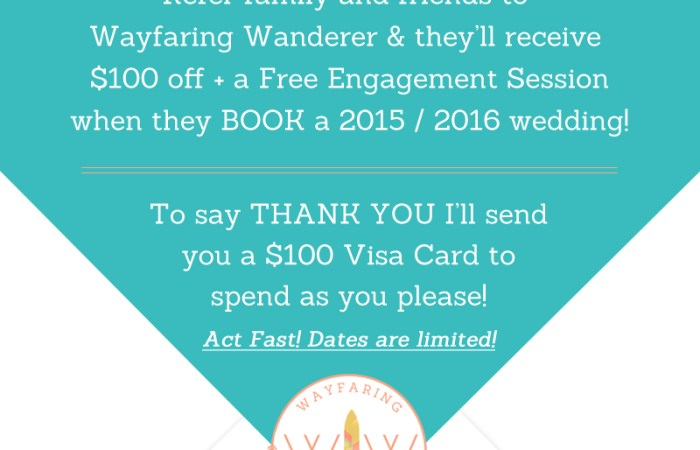 Spread the Word & Earn $100! | Become a Wayfaring Wanderer Wedding Ambassador | Boone NC Photographer