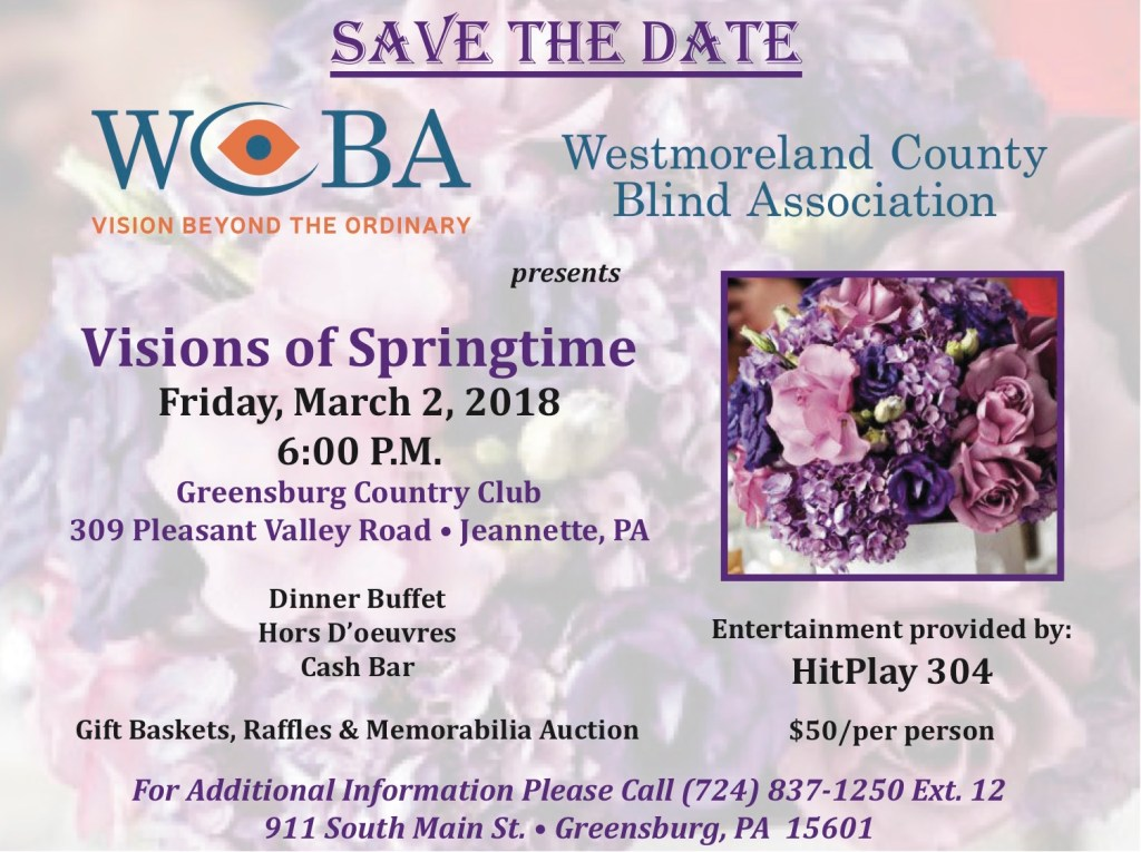 Save the date postcard for Visions of Springtime on March 2, 2018