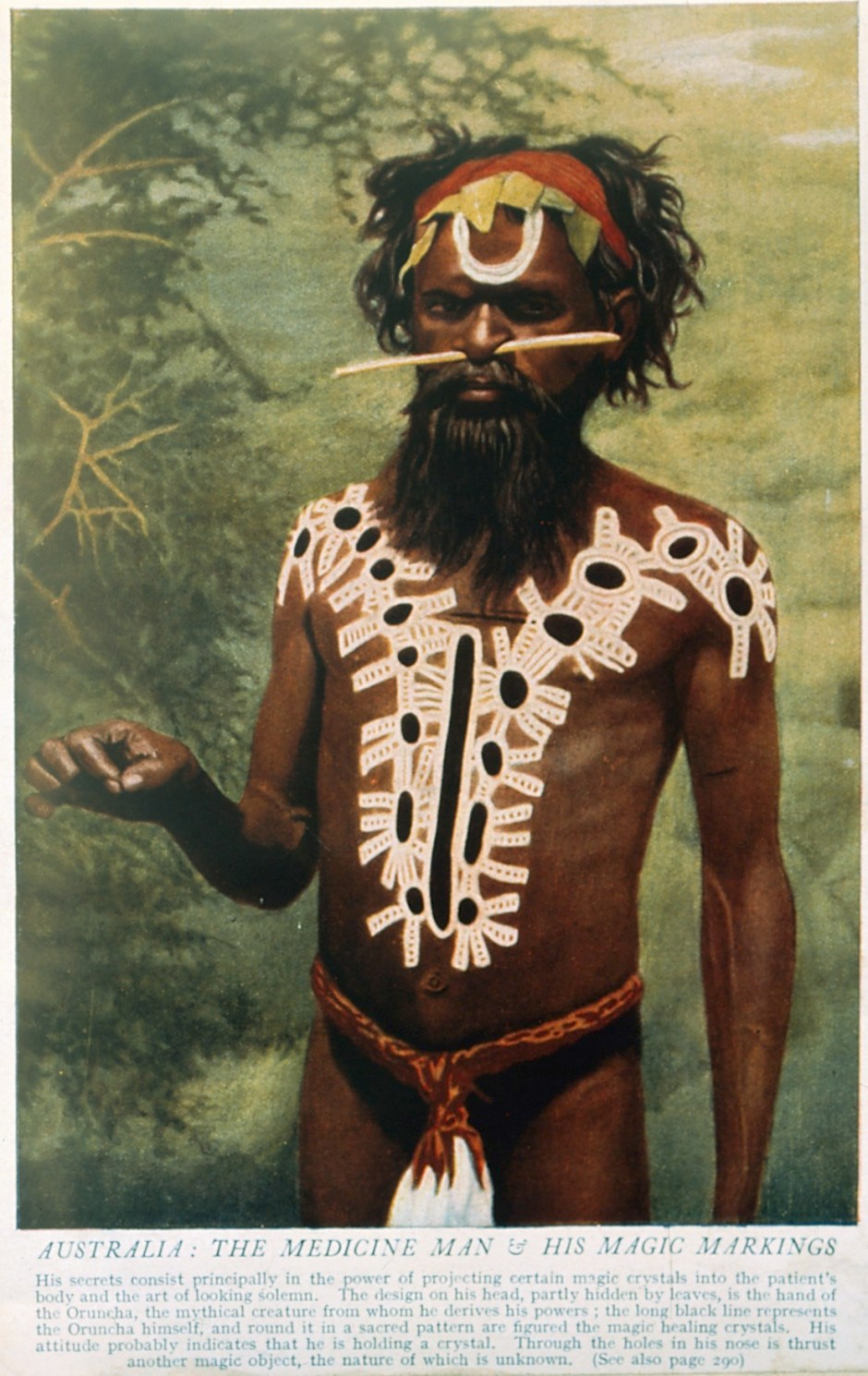 V0015977 Shaman/medicine man, body paint, Australia Credit: Wellcome Library, London. Wellcome Images images@wellcome.ac.uk http://wellcomeimages.org 1. A shaman or medicine man with extensive body painting Worgaia, Central Australia. Process print. 2. A shaman or medicine man with extensive body painting and nose stick, Australia. Colour process print. Published:  -  Copyrighted work available under Creative Commons Attribution only licence CC BY 4.0 http://creativecommons.org/licenses/by/4.0/