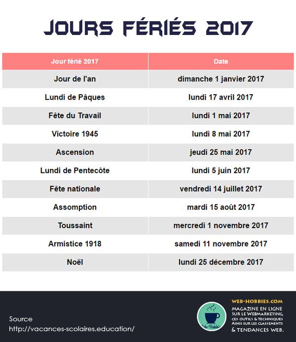Les TOUS 11 jours fériés 2017 officiels en France