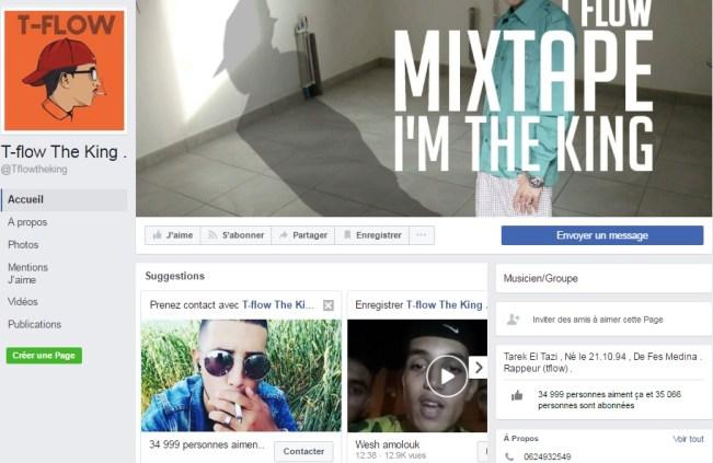 Page Facebook de T-flow - Rap Maroc 2017