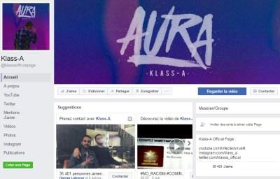 Page Facebook de KLASS A - Rap Maroc 2017