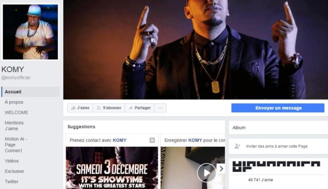 Page Facebook de Chaîne Youtube de Komy