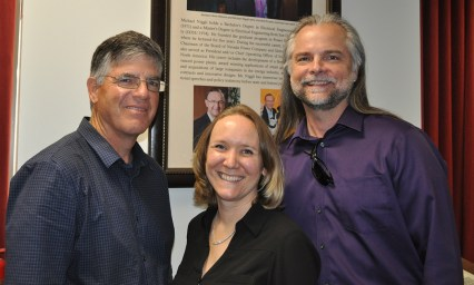 G2 General Manager Pete Keyes. COE Development Director Nicole Forrest-Boggs, and mathematician Christopher Priebe.
