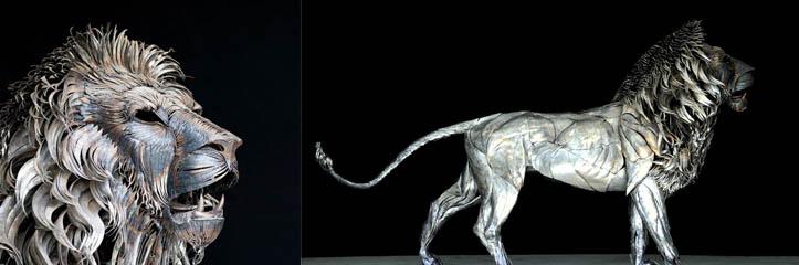 4,000の金属片から作られたライオン彫刻作品 by Selçuk Yılmaz