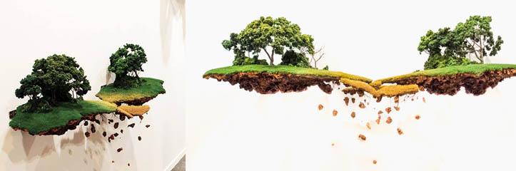 ギャラリーの壁に浮くごく小さい世界。 キューバの芸術家Jorge Mayetトによる作品